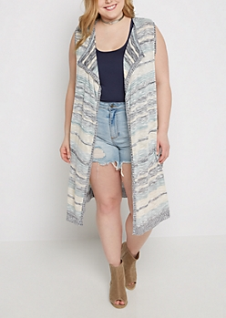 Plus Marled Stripe Sleeveless Cardigan Duster