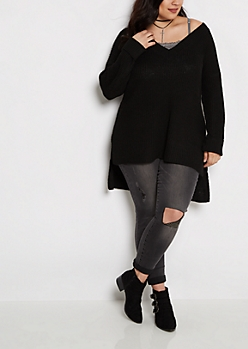 Plus Black V-Neck Tunic Sweater