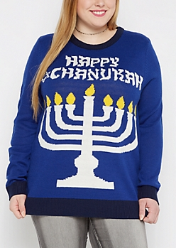 Plus Happy Chanukah Light Up Sweater