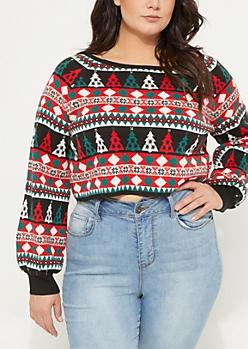 Plus Black Fair Isle Christmas Tree Crop Sweater