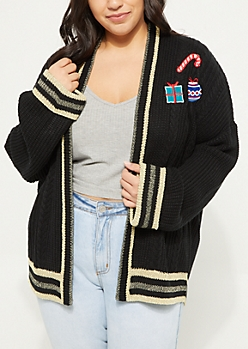 Plus Black Holiday Patch Knit Cardigan