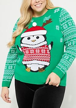Plus Green Sequin Penguin Sweater