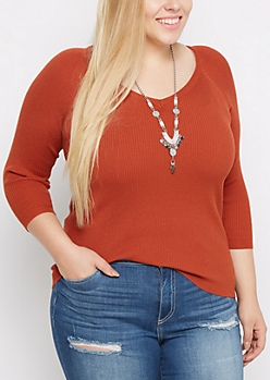 Plus Burnt Orange Ribbed V Neck Sweater