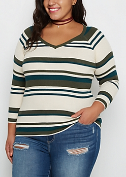 Plus Olive Multi Striped Ribbed V-Neck Sweater