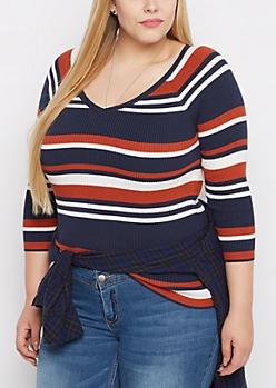 Plus Navy Multi Striped Ribbed V-Neck Sweater