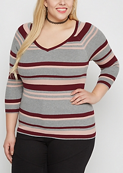 Plus Plum Multi Striped Ribbed V-Neck Sweater