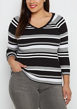 Plus Black Multi Striped Ribbed V-Neck Sweater