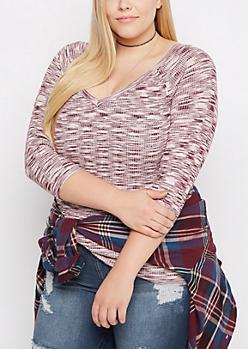 Plus Plum Space Dye V-Neck Sweater