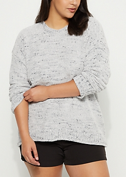 Plus Gray Speckled Chenille Sweater