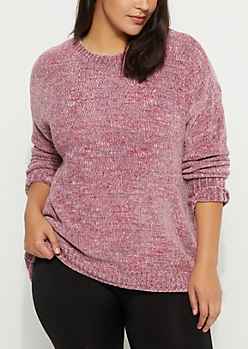 Plus Pink Speckled Chenille Sweater
