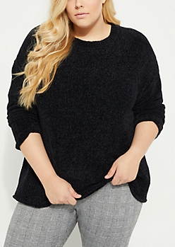 Plus Black Chenille Knit Sweater