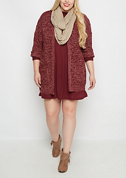 Plus Burgundy Marled Duster Cardigan