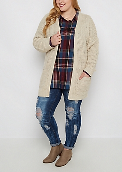 Plus Tan Marled Duster Cardigan