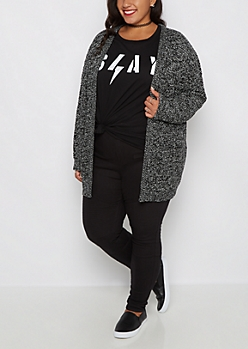 Plus Black Marled Duster Cardigan