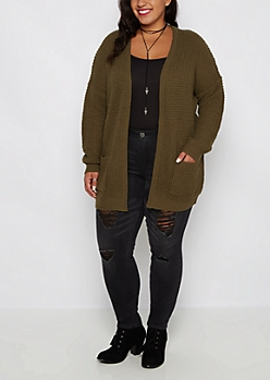 Plus Olive Oversized Cardigan