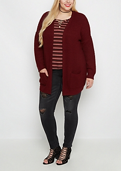 Plus Burgundy Oversized Cardigan