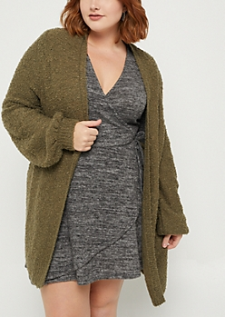 Plus Olive Boucle Open Front Cardigan