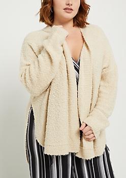 Plus Oatmeal Heather Soft Knit Cardigan