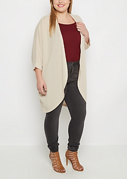 Plus Taupe Ribbed Cocoon Wrap