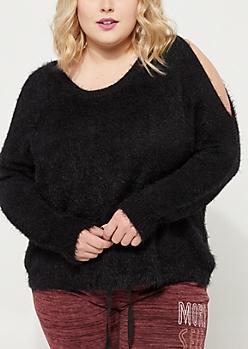 Plus Black Cold Shoulder Eyelash Sweater