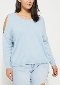 Plus Blue Cold Shoulder Eyelash Sweater