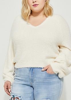 Plus Ivory Eyelash Knit Sweater