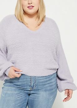 Plus Purple Eyelash Knit Sweater