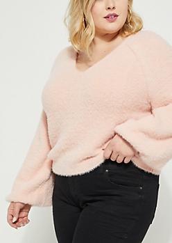 Plus Light Pink Eyelash Knit Sweater