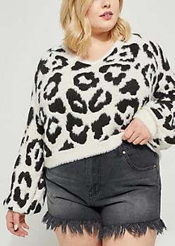 Ivory Animal Print Eyelash Knit Sweater