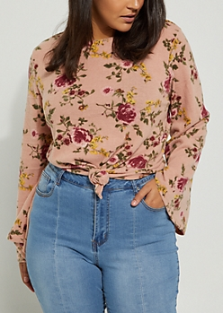 Plus Floral Knotted Hem Hacci Sweater