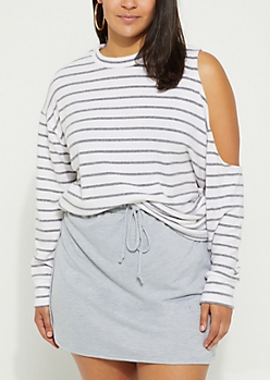 Plus Gray Striped Cold Shoulder Sweater