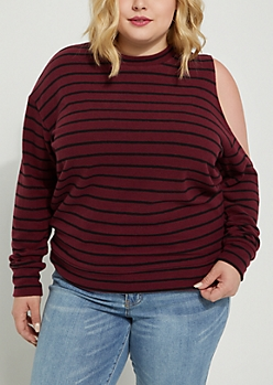 Plus Burgundy Striped Cold Shoulder Sweater