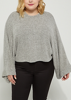 Plus Heather Gray Dolman Hacci Sweater