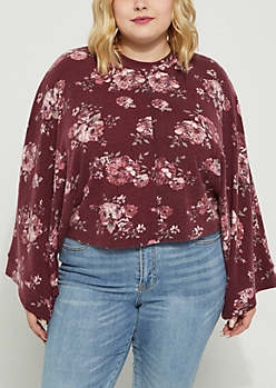 Plus Burgundy Floral Dolman Hacci Sweater