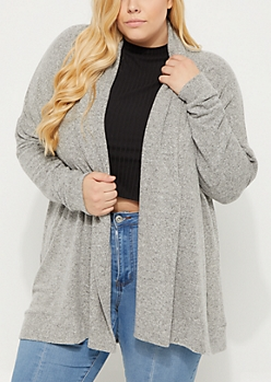 Plus Heather Gray Hacci Knit Cardigan