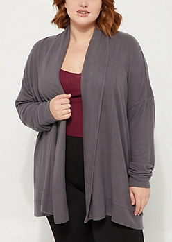 Plus Charcoal Green Hacci Knit Cardigan