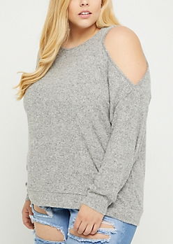 Plus Gray Cold Shoulder Hacci Sweater