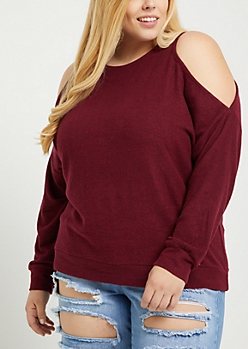 Plus Burgundy Cold Shoulder Hacci Sweater