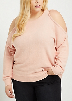 Plus Pink Cold Shoulder Hacci Sweater
