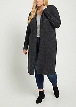 Plus Black Hooded Hacci Knit Duster