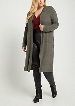 Plus Olive Hooded Hacci Knit Duster