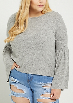 Plus Gray Bell Sleeve Hacci Sweater