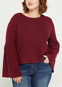 Plus Burgundy Bell Sleeve Hacci Sweater