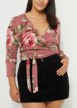 Floral Wrapped Pink Knit Crop Blouse