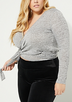 Plus Heather Wrapped Knit Crop Blouse