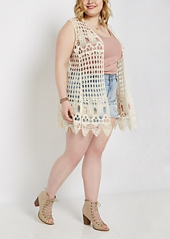 Plus Scalloped Hem Crochet Cardigan