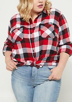 Plus Red & Black Tab Sleeve Flannel Shirt