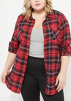 Plus Dark Red Tab Sleeve Flannel Shirt