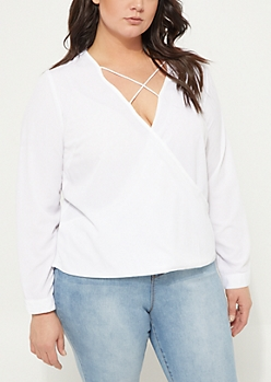 Plus White Surplice Front Cross Strap Blouse