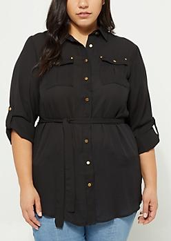 Plus Black Buttoned Tunic